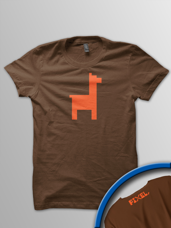 Pixel Pixels: Pixel Llama T Shirt (Orange)