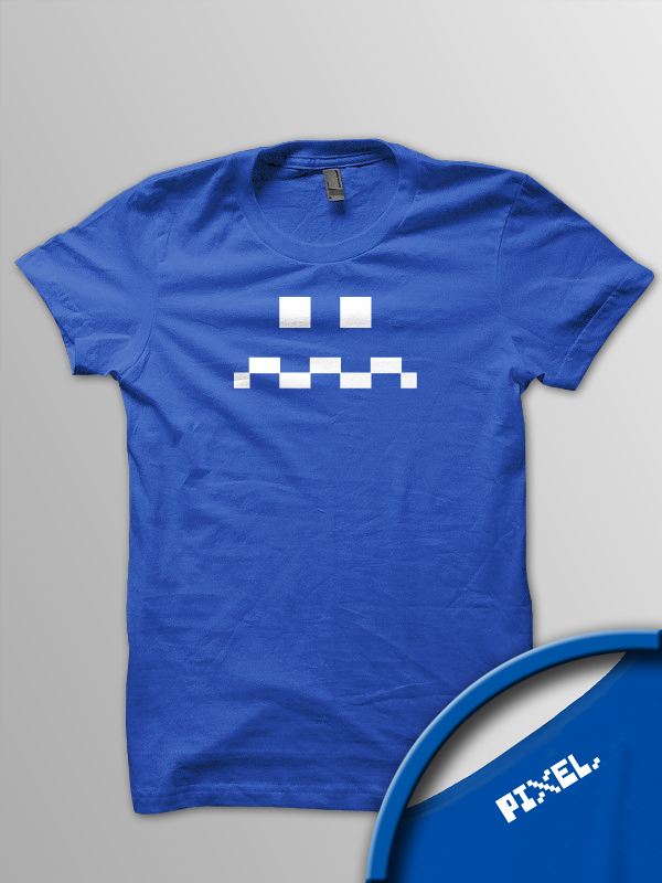 Pixel Pixels: Blue Guy Pac Man Ghost T Shirt - Click Image to Close