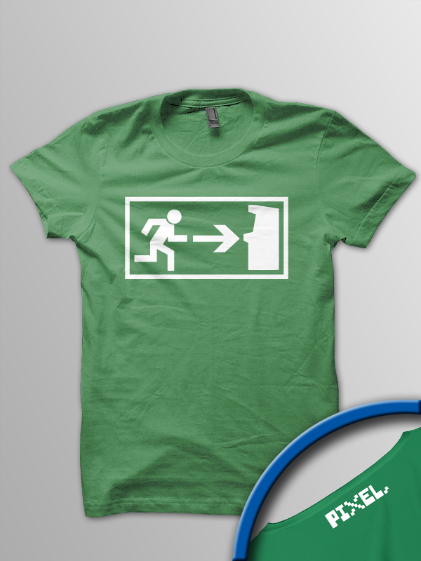 Pixel Pixels: Arcade Exit T Shirt - Click Image to Close