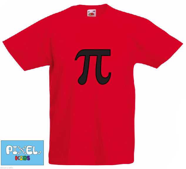 Pixel Pixels Kids: Pi T Shirt (Red)