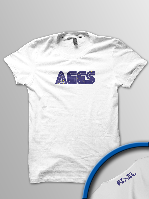 Pixel Pixels: AGES T Shirt (White Slight Sparkle)