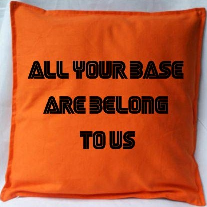 Pixel Pixels: All Your Base Are Belong To Us Cushion Cover