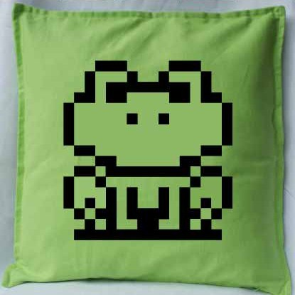 Pixel Pixels: Frog Suit Cushion Cover