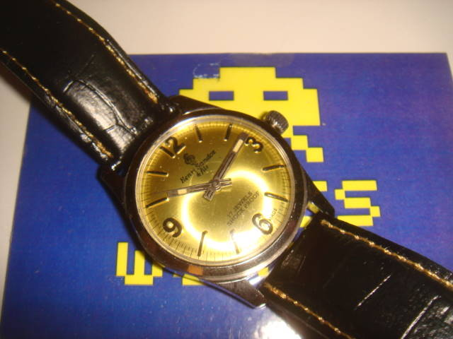 Henri Sandoz & Fils: Automatic Gold Face Watch