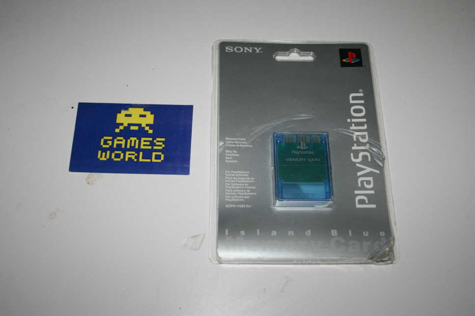 Official PS1 Island Blue Memory Card