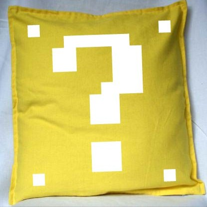 Pixel Pixels: Question Block Cushion Cover