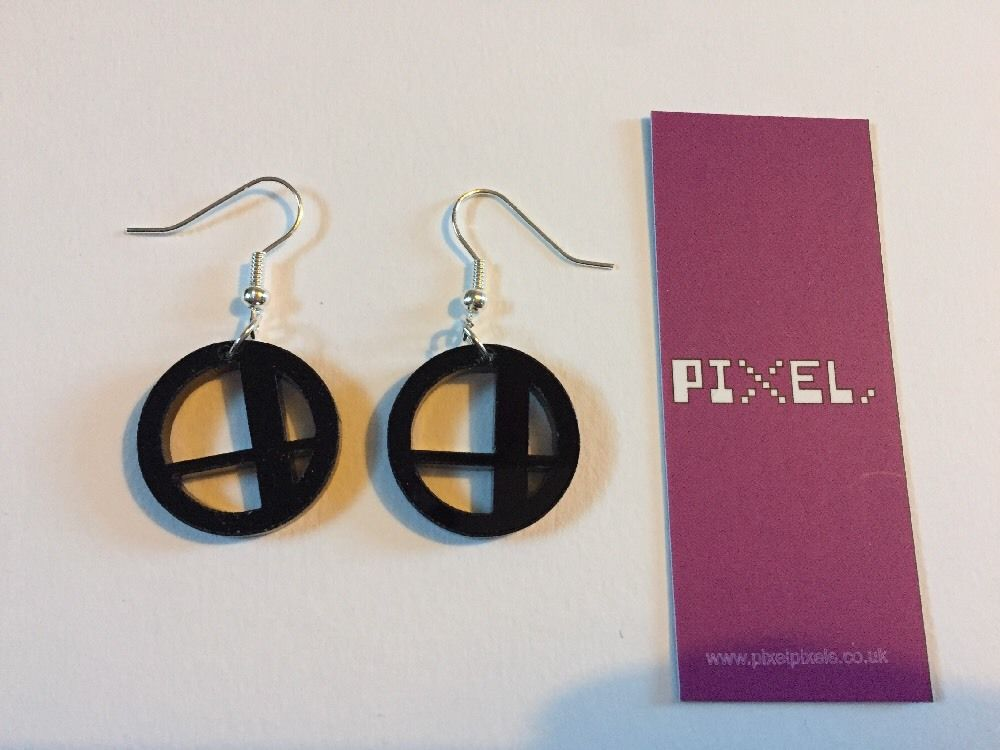 Pixel Pixels Earrings: Super Smash Bros Logo