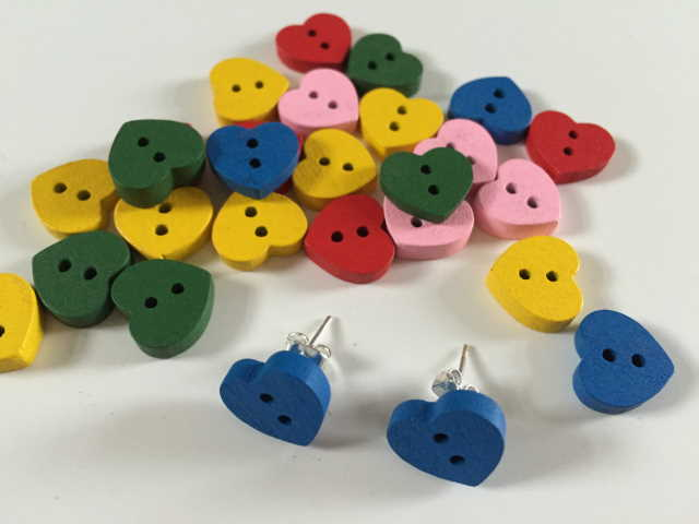 Pixel Pixels: Wooden Heart Earrings (Blue)